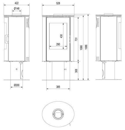 DOSTAWA GRATIS! 30066828 Piec wolnostojący koza 8kW KOZA AB (z panelami kaflowymi - czerwony) - spełnia anty-smogowy EkoProjekt