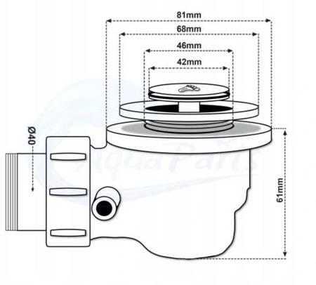 HYDAR BRODZIK KWADRATOWY 90x90 GŁĘBOKI 15cm BIAŁY+SYFON 23178200