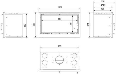KONS Kaseta kominkowa 14kW Arke 95 (szyba prosta) - spełnia anty-smogowy EkoProjekt 30065517