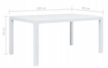 SEDEN Stól ogrodowy plastikowy biały na taras do ogrodu (wymiary: 150 x 90 x 72 cm) 22778045