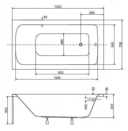 Tonga Wanna akrylowa obudowa syfon (wymiary: 120x70 cm) 11376352