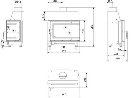 Wkład kominkowy 6kW SIMPLE S BS (prawa boczna szyba bez szprosa) - spełnia anty-smogowy EkoProjekt 30078904